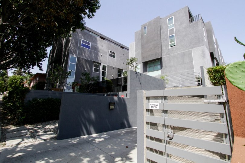 The entrance into the grounds of 1220 Art Lofts in West Hollywood