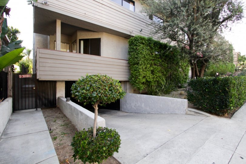 The parking area for residents at 839 Larrabee in West Hollywood
