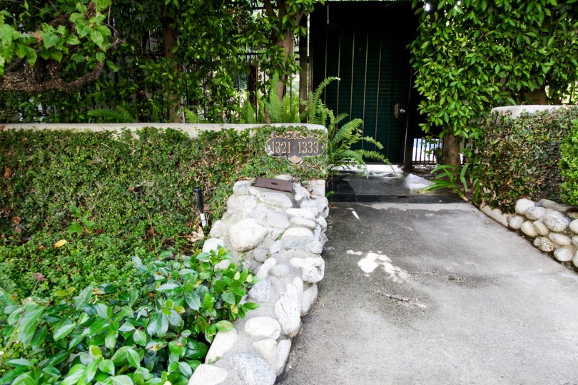 The sidewalk leading up to Chateau Brittany in West Hollywood