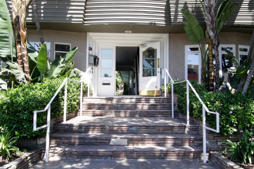 The doors entering into Crescent Heights Villas in West Hollywood