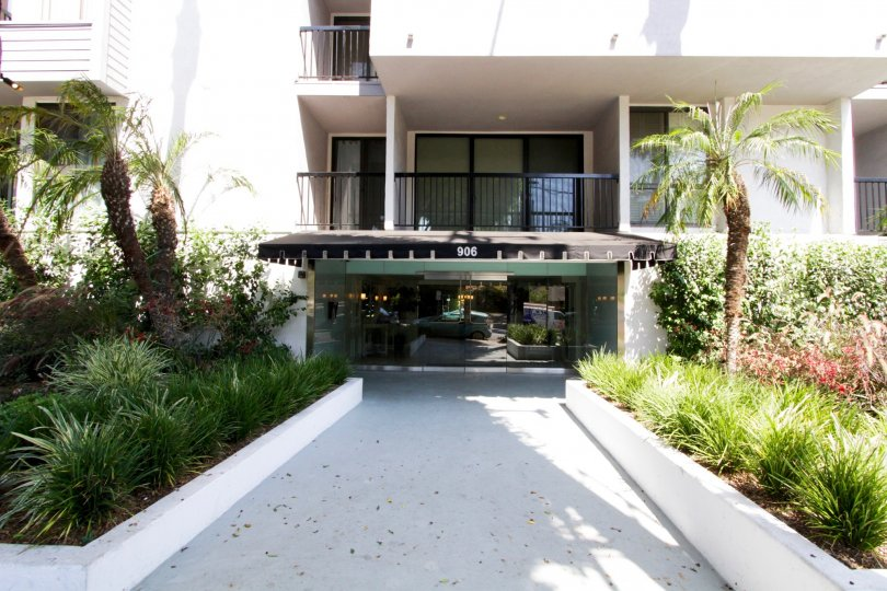 The entryway into Doheny Terrace