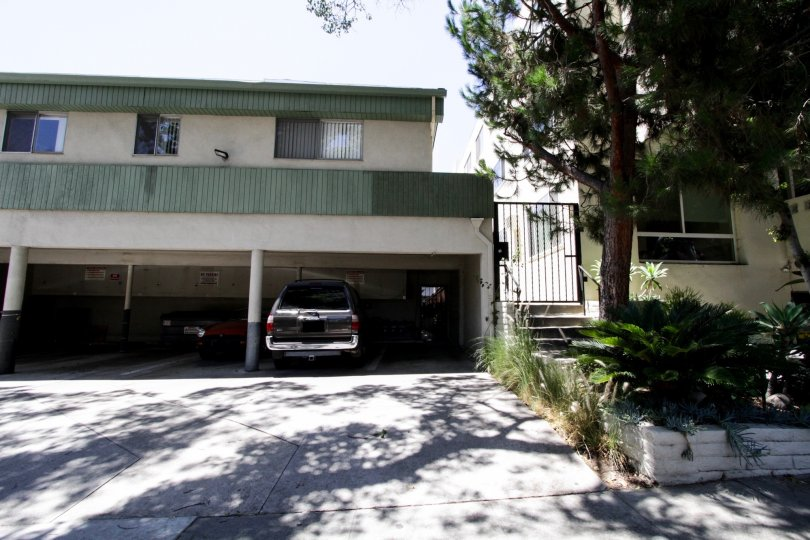 The garage parking for residents of Flores Palace