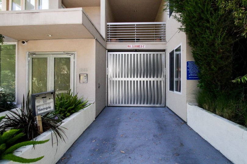 The gate into the parking area at the Fountain Villas VIII in West Hollywood