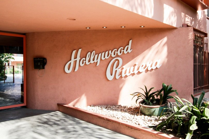 The name of the Hollywood Riviera written on the building