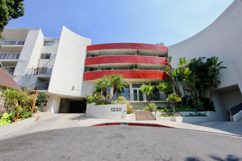 A very clear shot of the entrance to 1230 Horn Plaza, West Hollywood, California