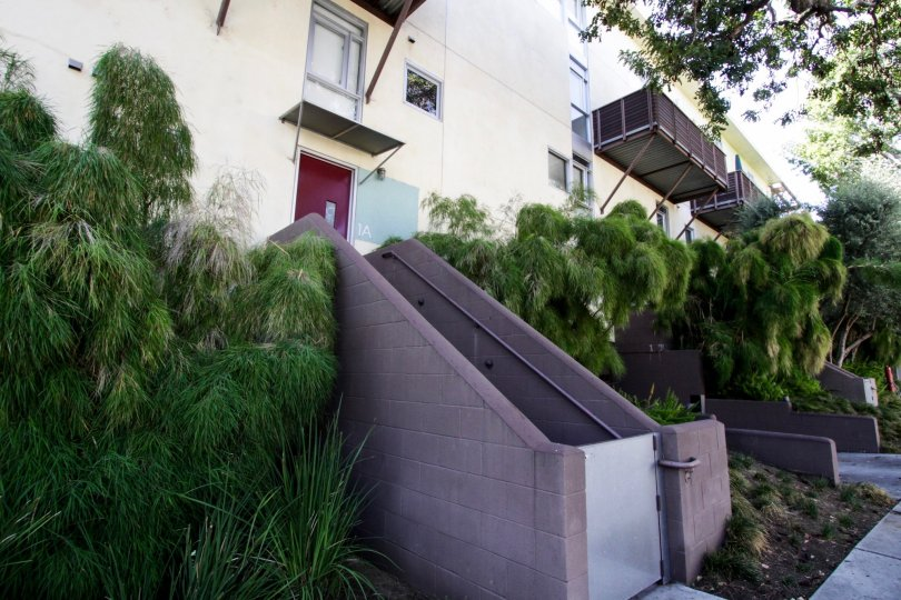 The stairs leading up to Laurel Court Lofts in West Hollywood