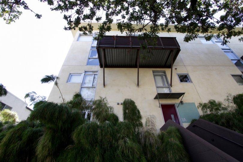 The balcony seen at Laurel Court Lofts