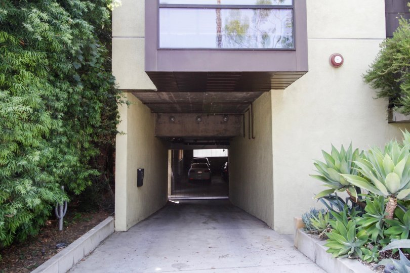 The parking for Orange Grove Lofts in West Hollywood