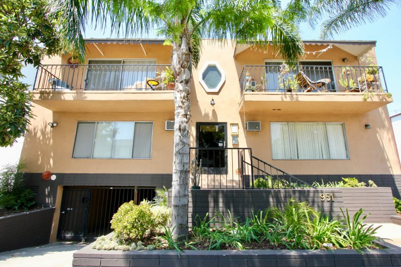 A yellow house in the Romaine Terrace neighborhood with two balconies and a large palm tree