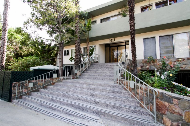 The stairs leading up to The Hayworth in West Hollywood