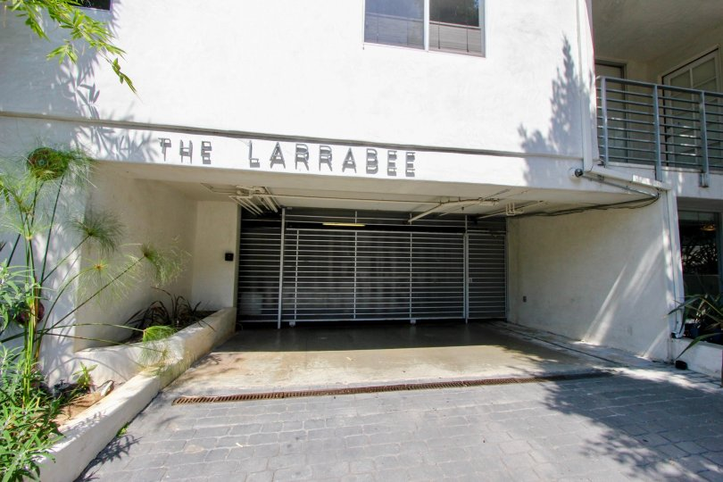 white walls of The Larrabee and the great entrance, West Hollywood, California