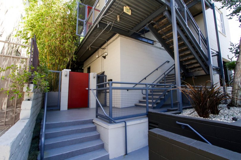 The stairs entering into The Lofts at Melrose Place in West Hollywood