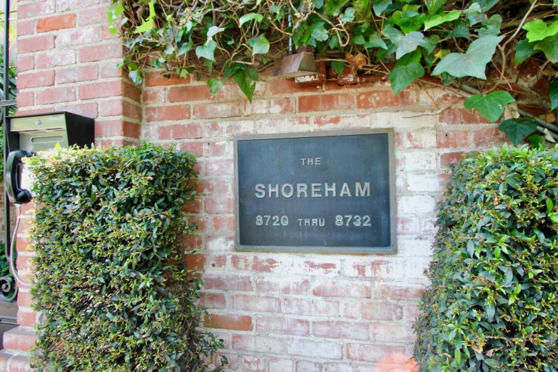 Classy brick styled entrance signage of The Shoreham, West Hollywood, California