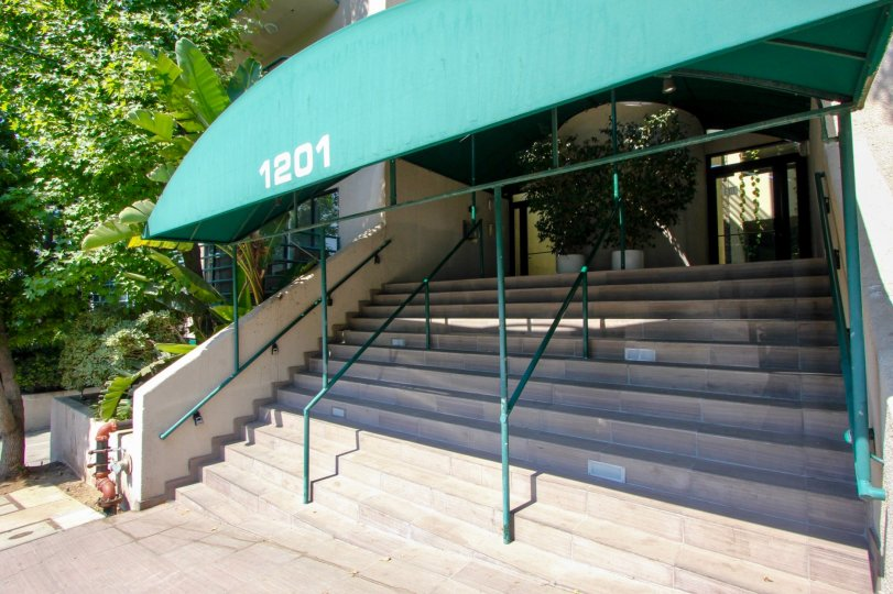 awesome green shade and entrance to 1201 Vista Larrabee building, west Hollywood, California
