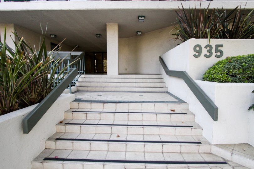The stairs leading up to the entrance of Westbourne Regency