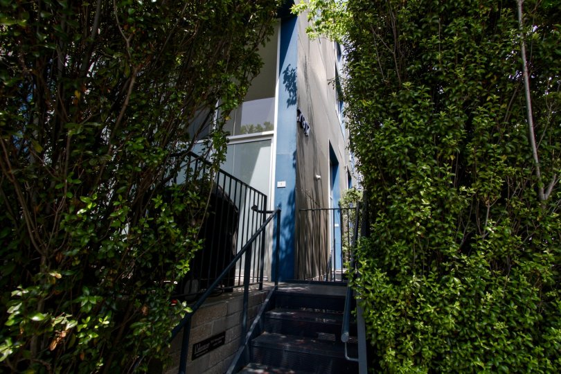 The stairs leading up to Willoughby Lofts in West Hollywood
