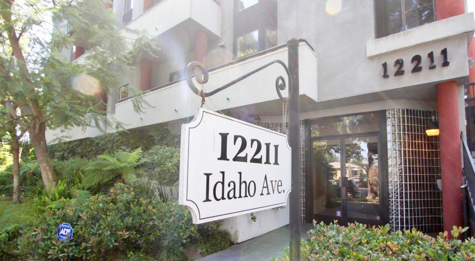 Leafy front view of the building at 12211 Idaho in West LA, California