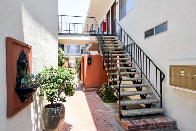 Patio and stairs on a sunny day in 1522 Centinela in West LA, CA.
