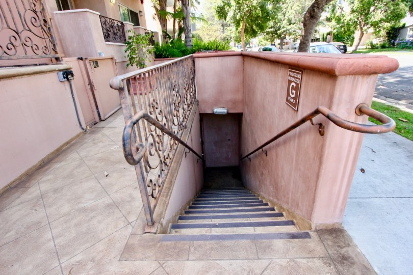 Stairs with brown color in 1629 Armacost in California