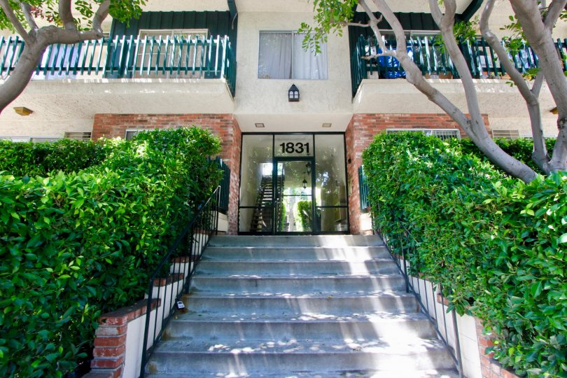 Grand green entrance of 1831 Barry, West La, California