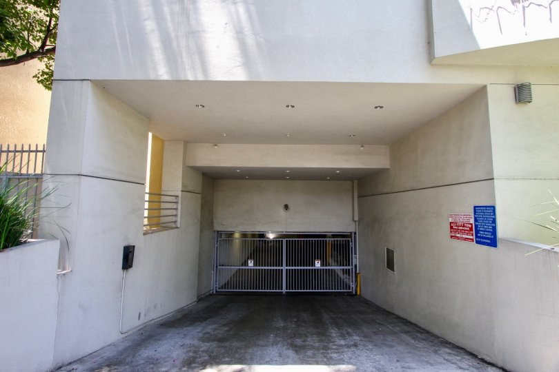 A very close view of the parking entrance to Bentley Plaza, West La, California