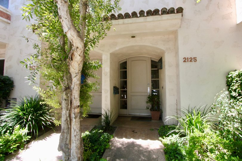 Building is nice with Spanish feel in Bougainvilla Townhomes in West LA, California