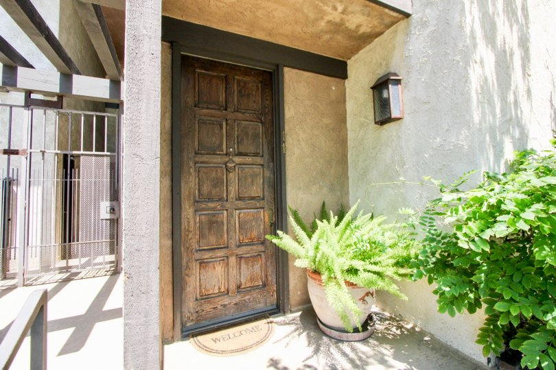 Front door and entrance to Bundy Townhomes, West La, California