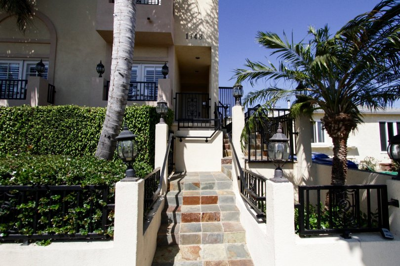 The stairwell leading up to the main entrance of the Castle View Townhomes in West LA