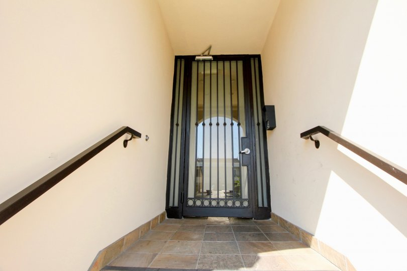 The secure entrance to the Granville Homes in West LA