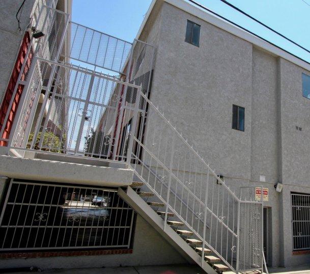Secure stairwell entrance to Park Lane Villas in West LA