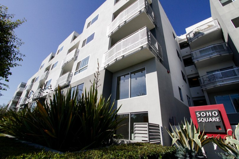The balcony on units at Soho Square in West LA