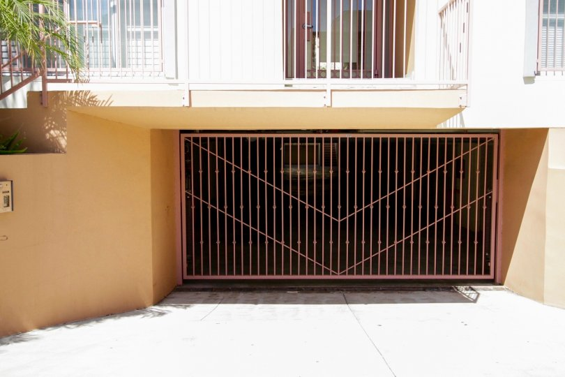 The gated parking for Stoner Gardens of West LA
