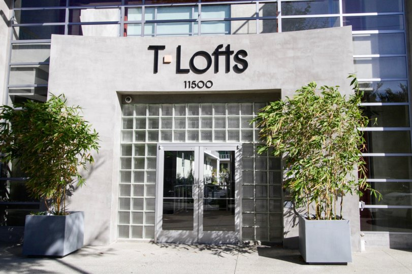 The glass entrance of T Lofts of West LA