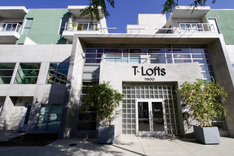 The sign and address over the entrance of T Lofts of West LA
