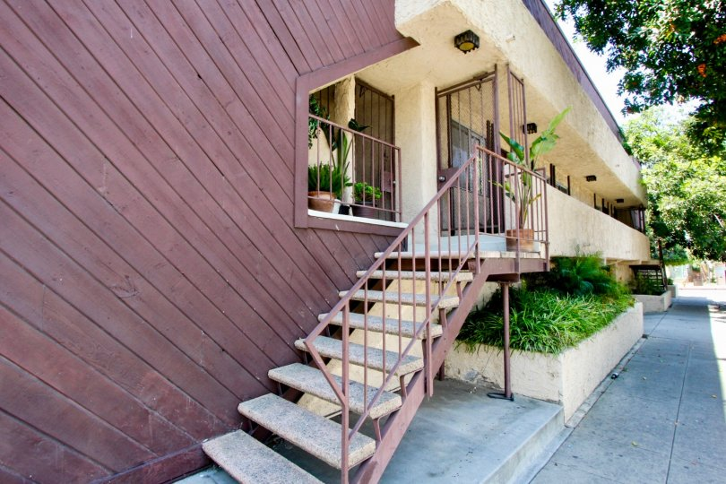 Cool entrance up a flight of stairs to Wyoming Condos in West LA