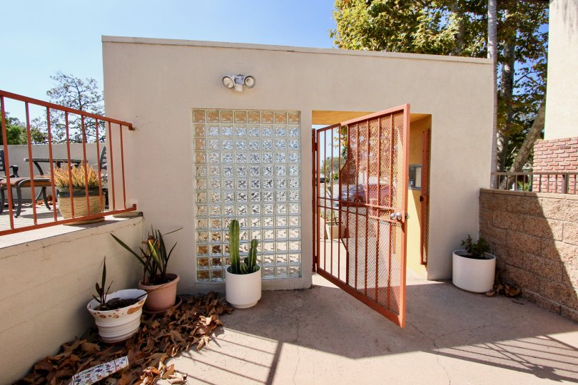 The gate into Kentwood Villas in Westchester, California