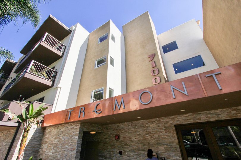 The Tremont Condominiums name on the building in Westchester, California