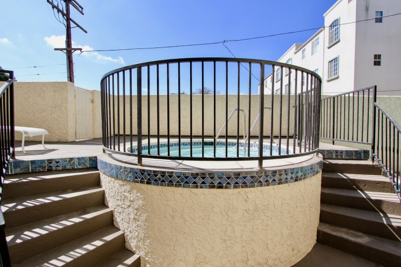 The hot tub seen at Westchester House in Westchester, California