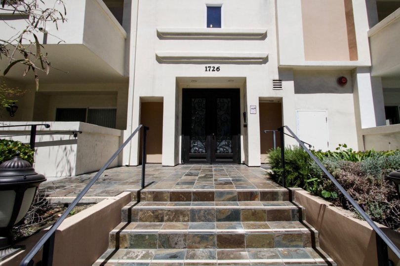 The stairs leading up to 1726 Bentley Regency in Westwood