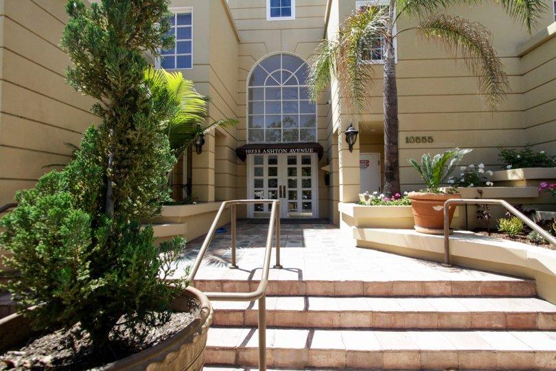The entryway into Ashton Thayer Plaza in Westwood