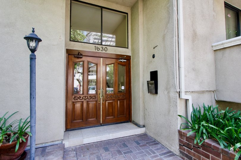 tastefully finished details of 1630 security system and door of Bently gardens Apartment, Westwood, California