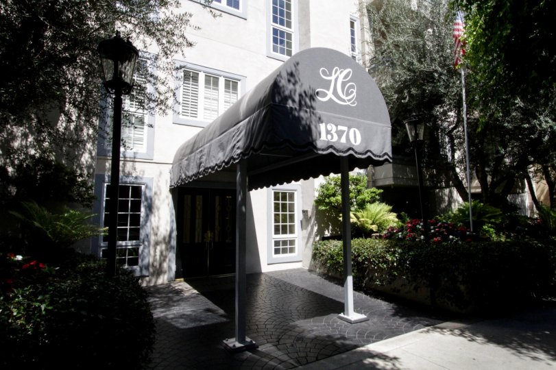 The entrance into Le Chateau of Westwood located in Westwood