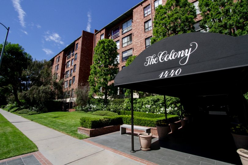 The sidewalk in front of The Colony at Westwood