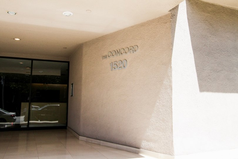 The name of The Concord written on the building in Westwood