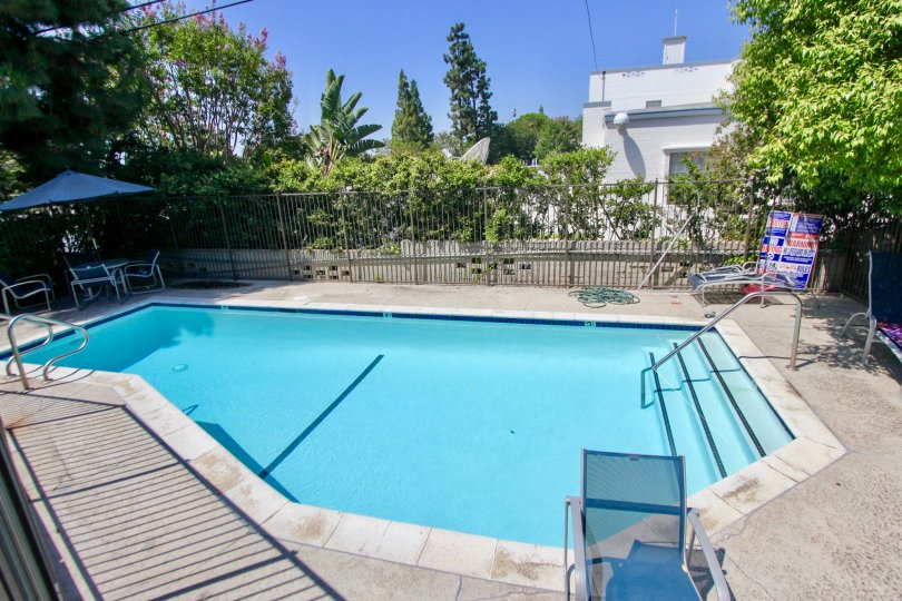 A lovely day at the pool at the Village Townhouses in sunny Westwood, California