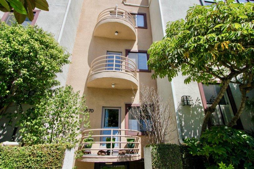 West Breeze's very own veranda overlooking the green space, Westwood, California
