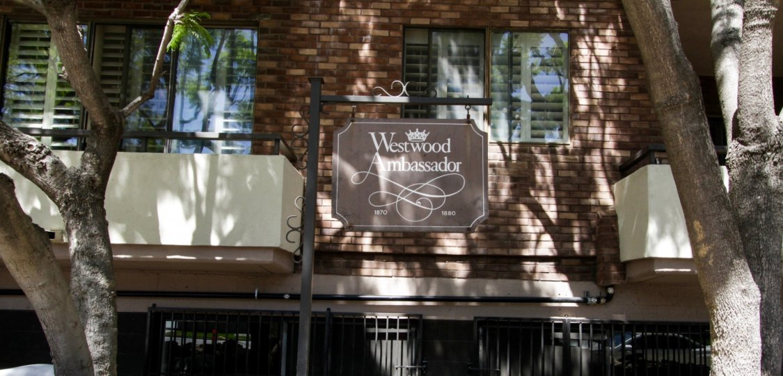 The sign announcing the Westwood Ambassador in Westwood