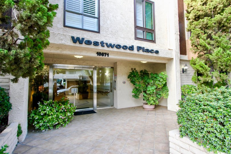 The Westwood Place, with multiple green plants and shrubs in front of it and a large glass door