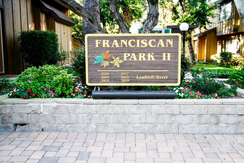 The sign for Franciscan Park II in Winnetka California