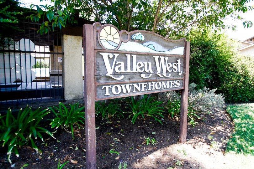 The welcoming sign into Valley West Townhomes